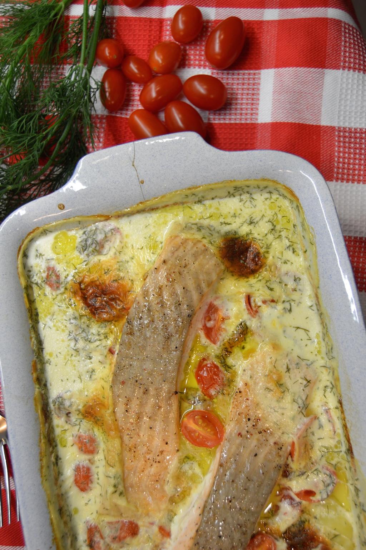 Kartoffelgratin mit Lachs und geschmorten Tomaten2