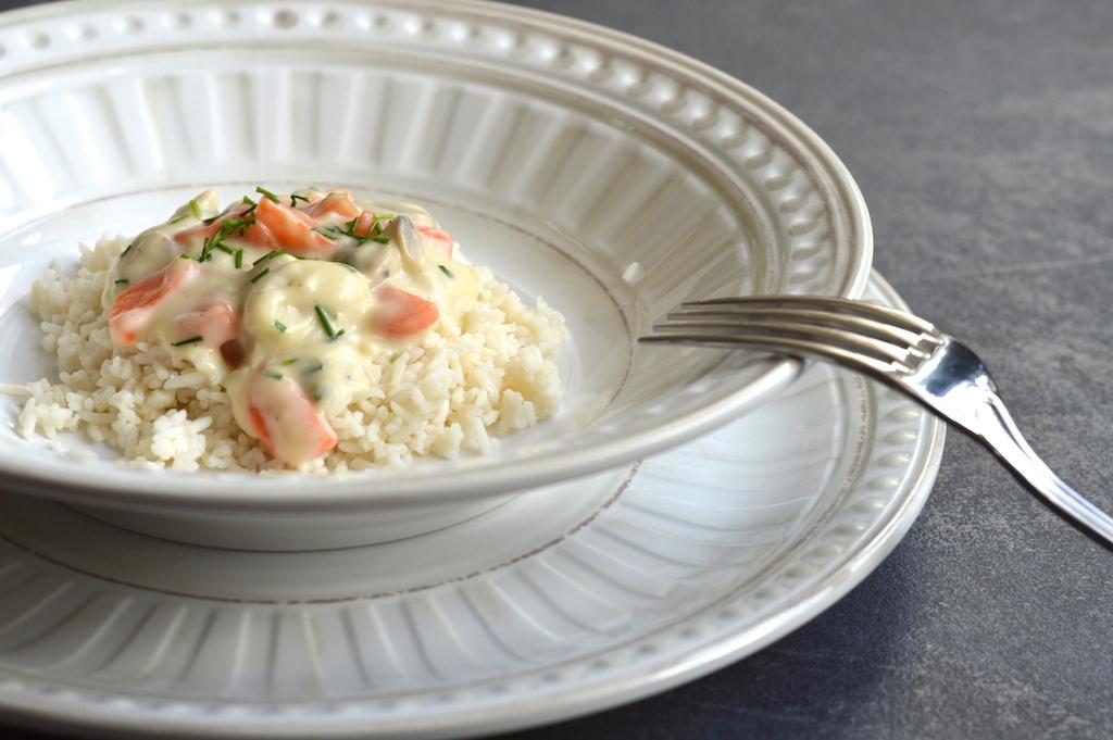 Puten-Pilz-Gulasch mit Reis 1